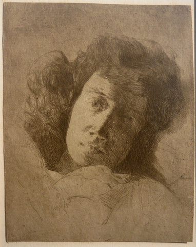 """Study of a Woman's Head"" by J. Alden Weir, Amer., (1852-1919)"