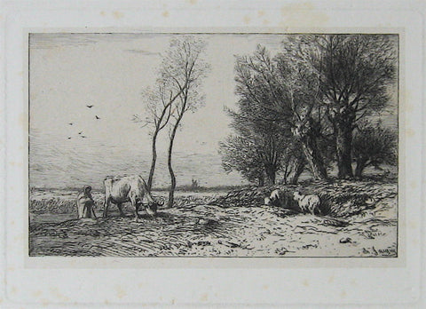 Charles-Emile Jacque L'Hiver, (Shepard, Cow and Two Sheep)
