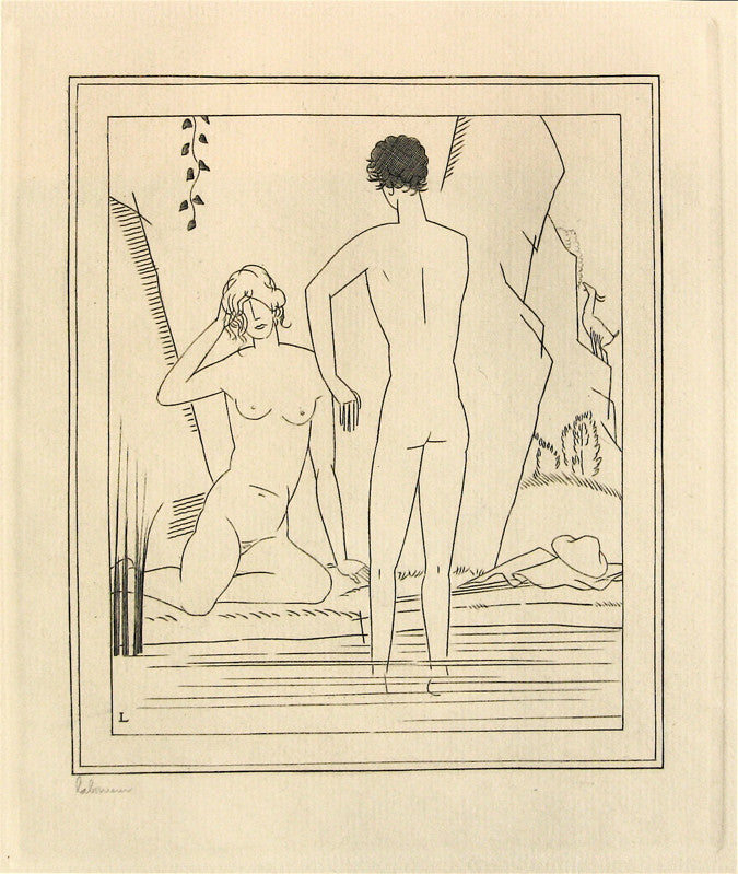 Jean-Emile Laboureur Nude Couple Bathing