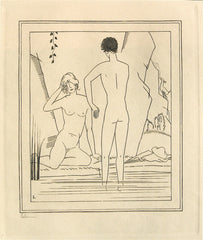 """Nude Couple Bathing"" by Jean-Emile Laboureur"
