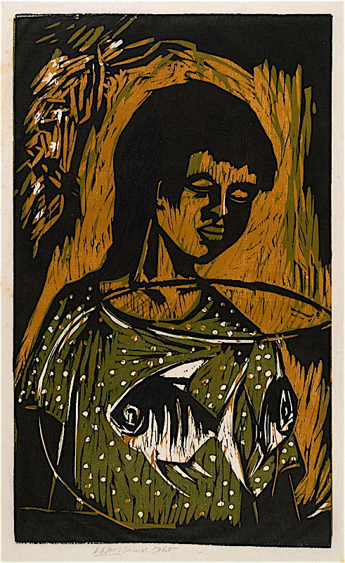 """Girl with Angel Fish"" by Amos Langdown, South African, (1930-2006)"