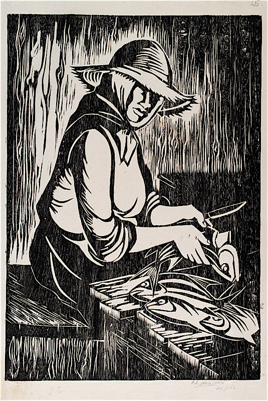 """Woman Preparing Fish"" by Amos Langdown, South African, (1930-2006)"