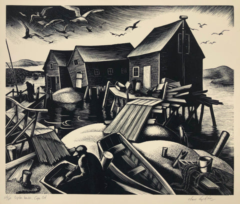 """Oyster Houses, Cape Cod"",  Clare Leighton, Eng.-Amer., (1898-1989)"