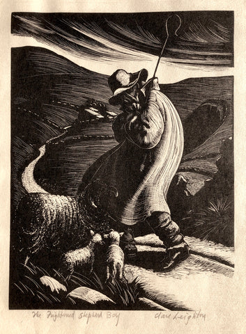 The Frightened Shepard Boy, by Clare Leighton, Eng-Amer., (1898-1989)