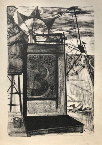 """Honest Weight 3 Cents"" by Marian Lerer, Amer., (1928-2017)"