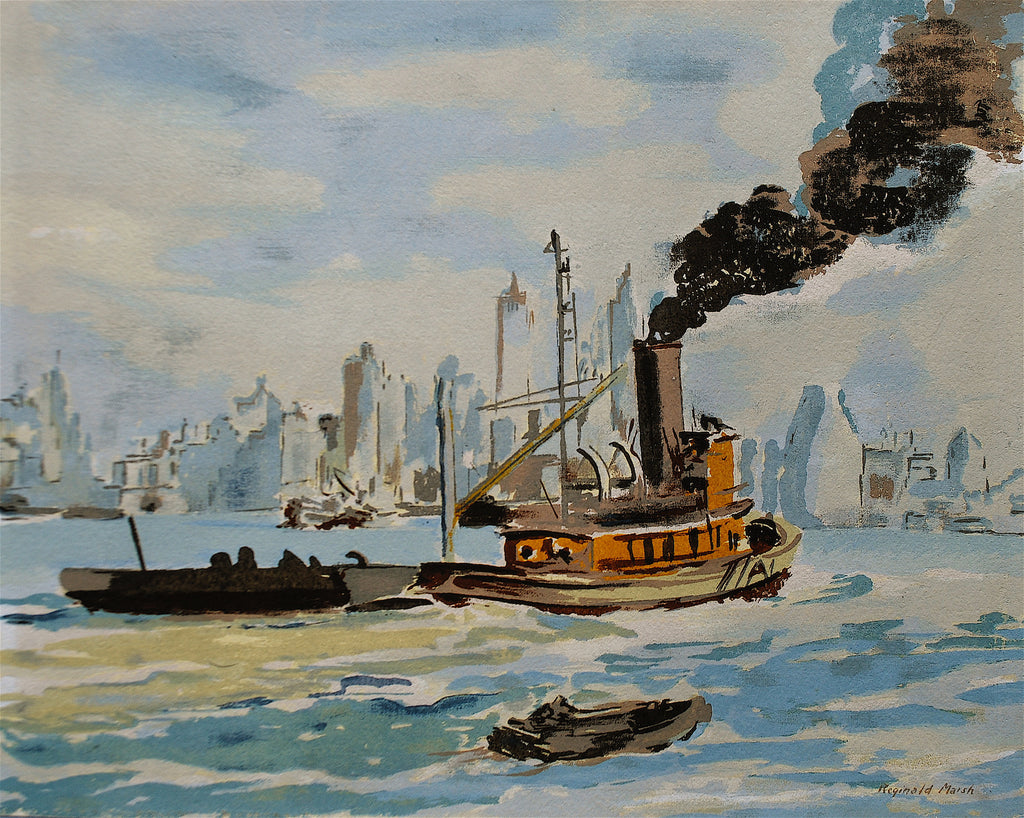 """Tug in New York Harbor"" by Reginald Marsh, Amer., (1898-1954)"