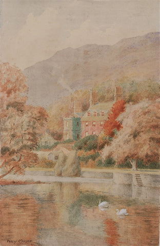 Percy Mason Manor on a Lake with Swans
