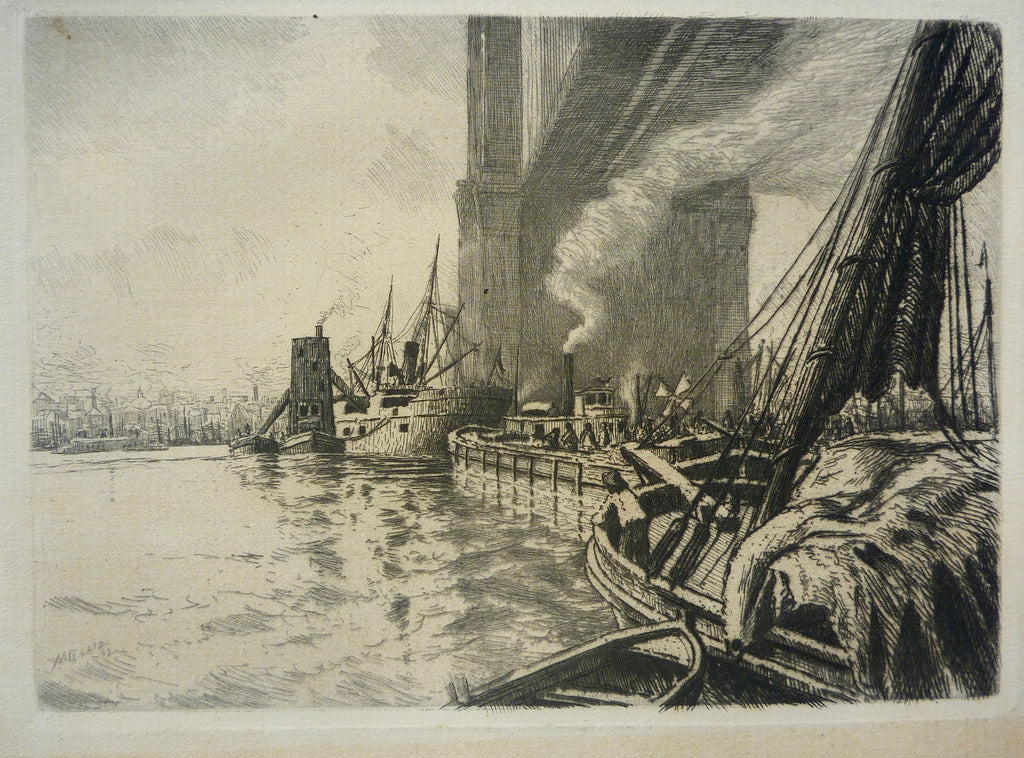 """Under the Brooklyn Bridge, East River"" by Charles F. W. Mielatz, Amer., (1864-1919)"