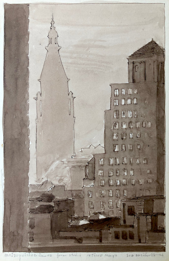 """Metropolitan Tower from Studio 14 Floor Macys NYC"" by Ben Mildwoff, Amer., (1907-1991)"