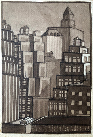 """Skyscrapers and Water Tanks, NYC"" by Ben Mildwoff, Amer., (1907-1991)"