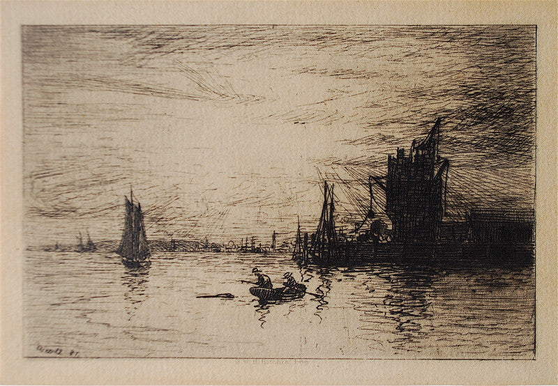 J. C. Nichol Building an Elevator, Boats in Sunset Harbor