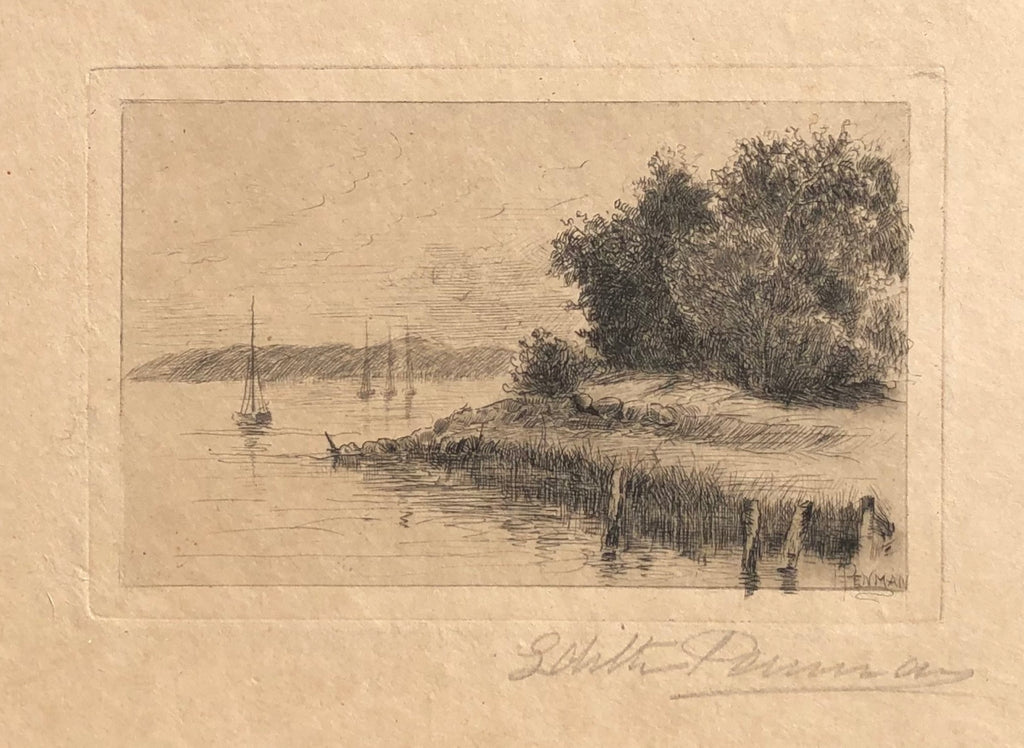Shoreline With Four Boats, by Edith Penman, Amer., (1860-1929)