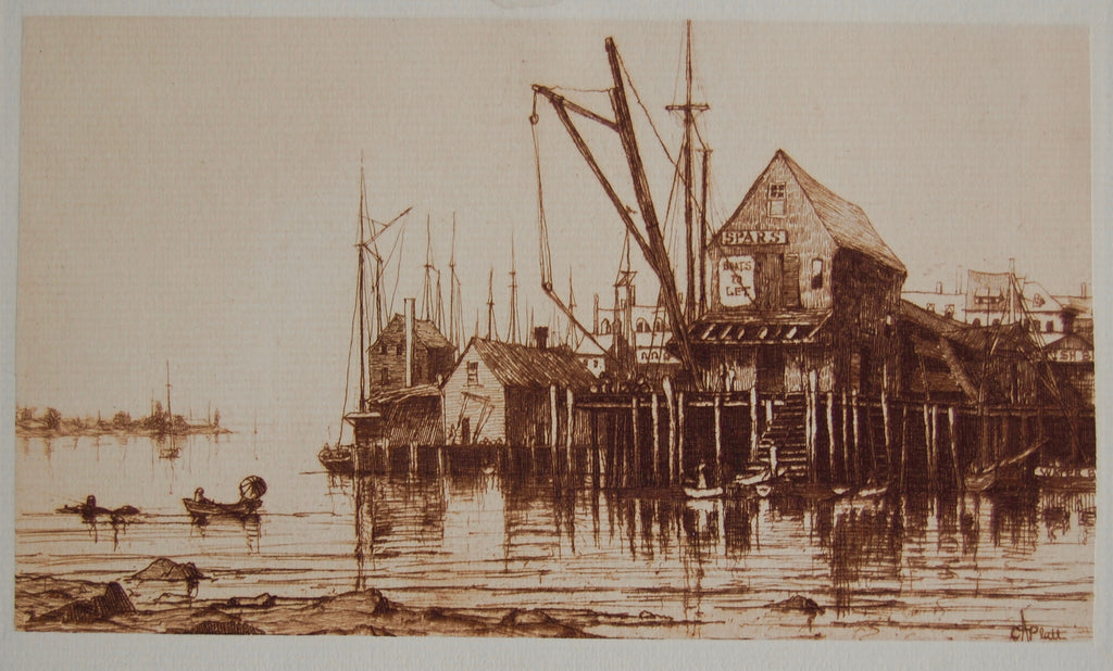 """Old Boat House, Gloucester"" by Charles A. Platt, Amer., ( 1861-1933)"