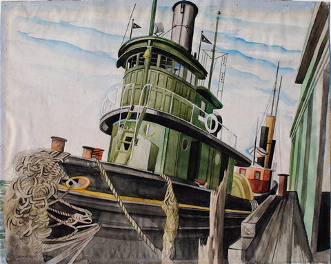"""Tugboat at the Pier (N.Y. Harbor)"" by Leslie Joseph Powell"