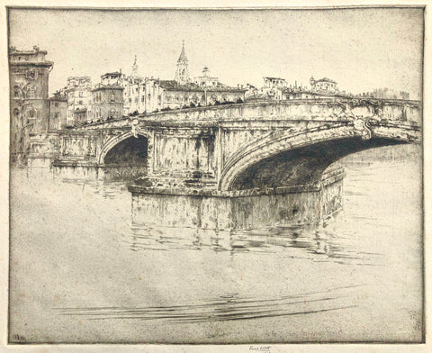 Ponte Del Trinite-Florence-1908, by Ernest D. Roth, Amer., (1876-1964)