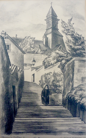"""Stairway in Chartres"" by Mildred Emerson Williams, Amer., (1892-1967)"