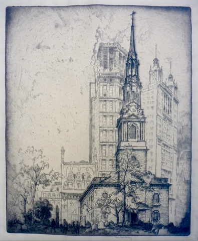 """St. Paul's Church, New York City"" by  Bror J. O. Nordfeldt"