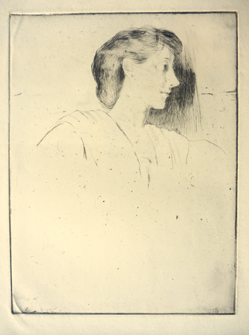 """Study of a Woman's Head in Profile"" by J. Alden Weir, Amer., (1852-1919)"