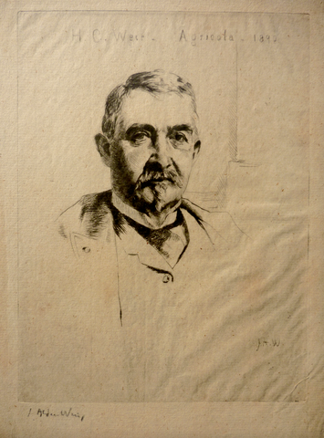 """Portrait of Colonel H. C. Weir-Agricola-1890"" by J. Alden Weir, Amer., (1852-1919)"