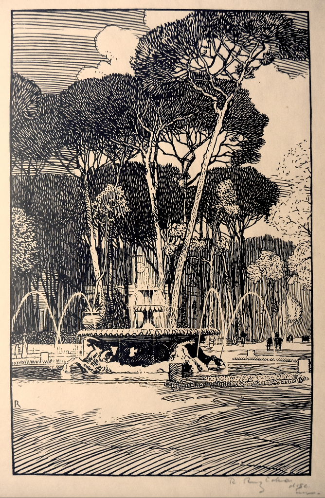 """Fountain of the Sea Horses Villa Borghese, Rome"" by Rudolph Ruzicka"