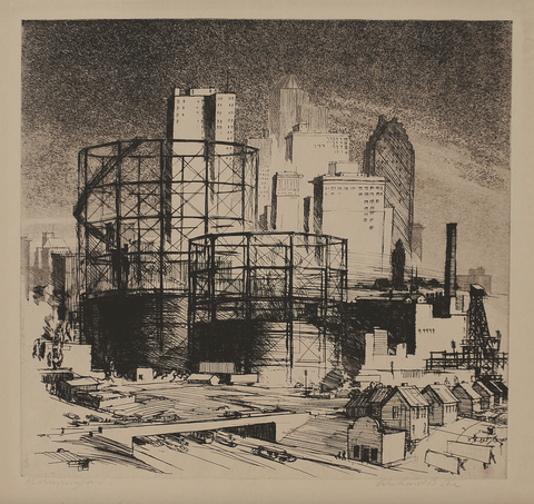 """Birmingham"" (Gas Tanks and Skyline), by Richard Blauvelt Coe, (Amer.,1904-1978)"