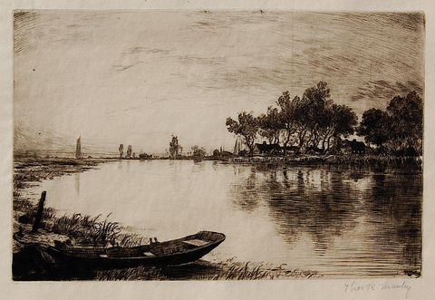 """Rowboat by a River"" by Thomas R. Manley, (Amer.1853-1938)"