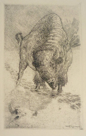 """Bison on the Trail #2"" by Will Simmons, Amer., (1884-1949)"