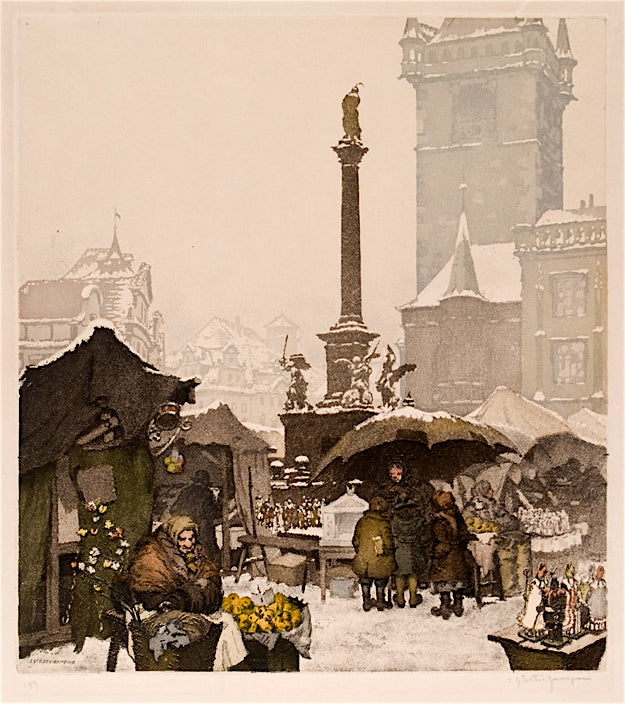 """Christmas Market in the Old Town Square"" by J. Stretti-Zamponi, Czech.,(1882-1959)"