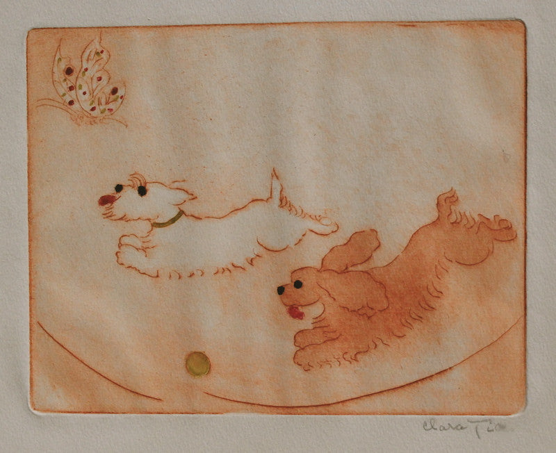 Clara Tice Two Dogs, Ball & Butterfly