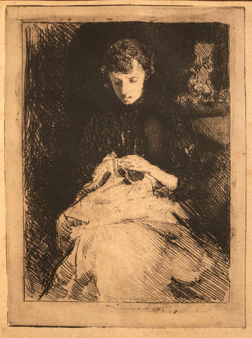 """Woman Seated Sewing"" (Anna Baker Weir) by J. Alden Weir, Amer., (1852-1919)"