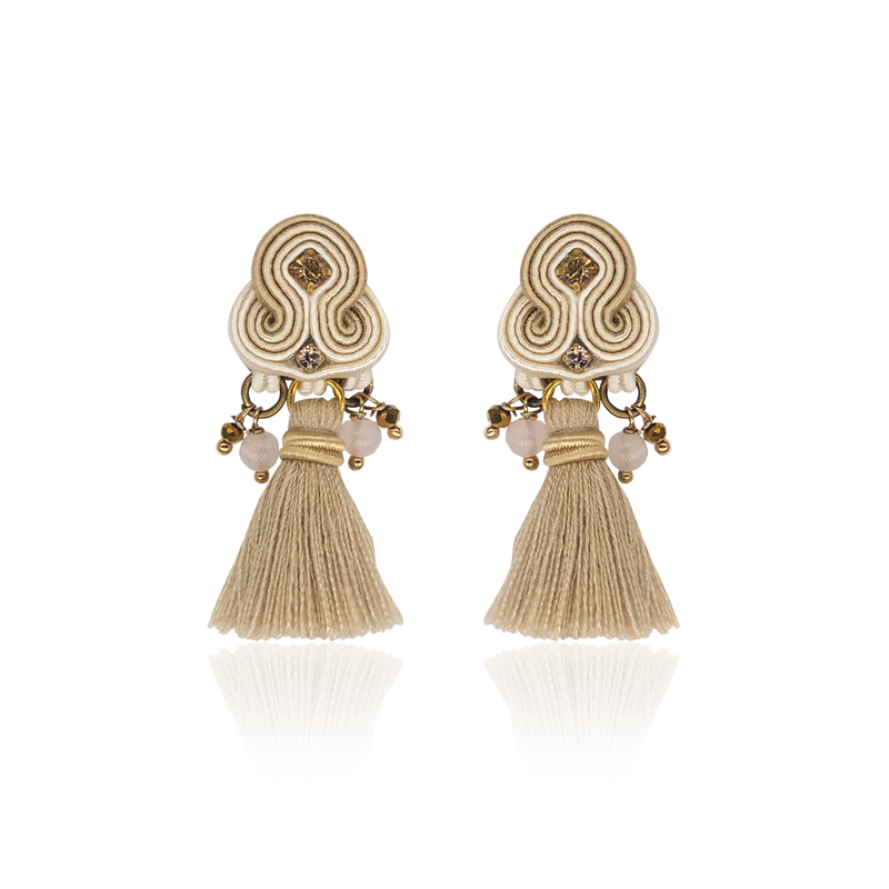 Beige Mini Borla Earrings