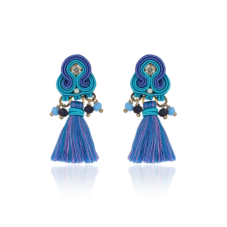 Blue Mini Borla Earrings