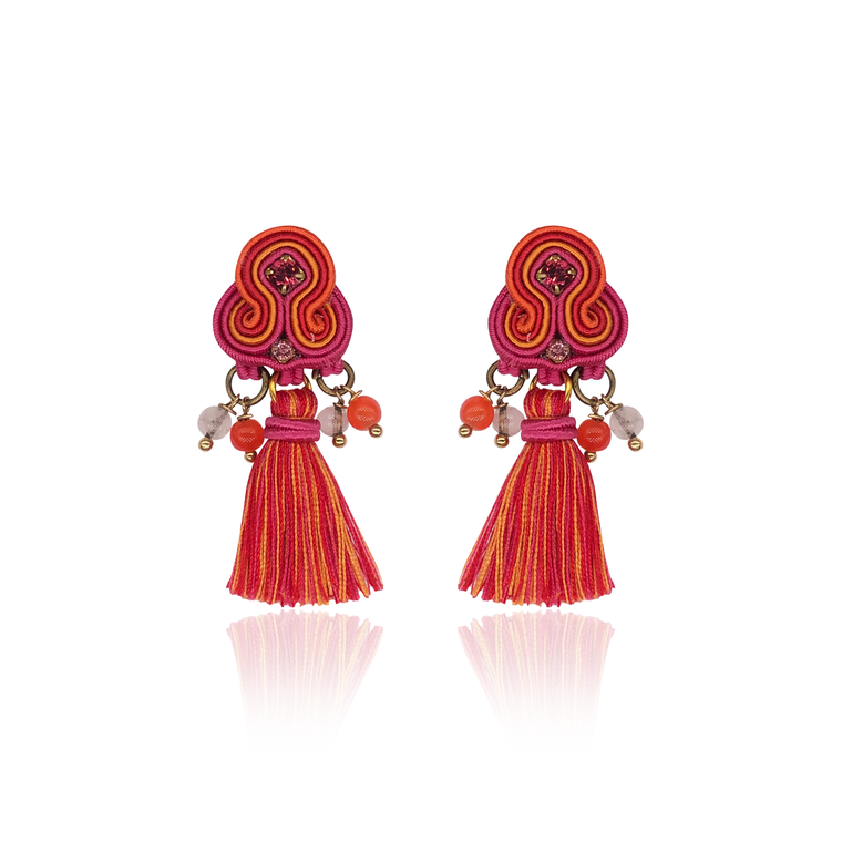 Coral Mini Borla Earrings