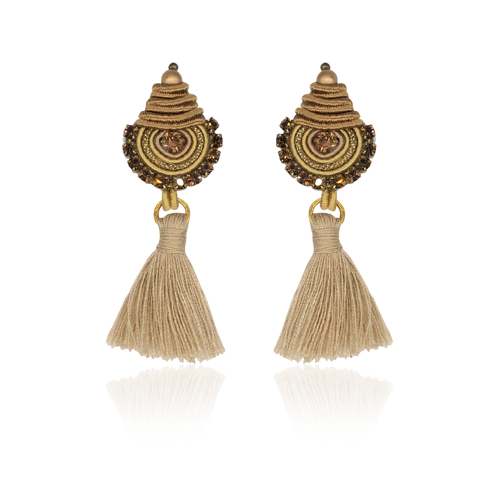 Goldie Beige Mini Borla Earrings