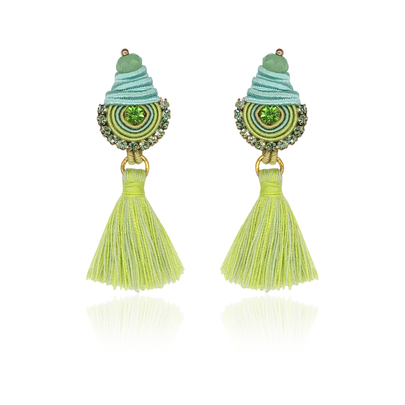 Light Green Mini Borla Earrings