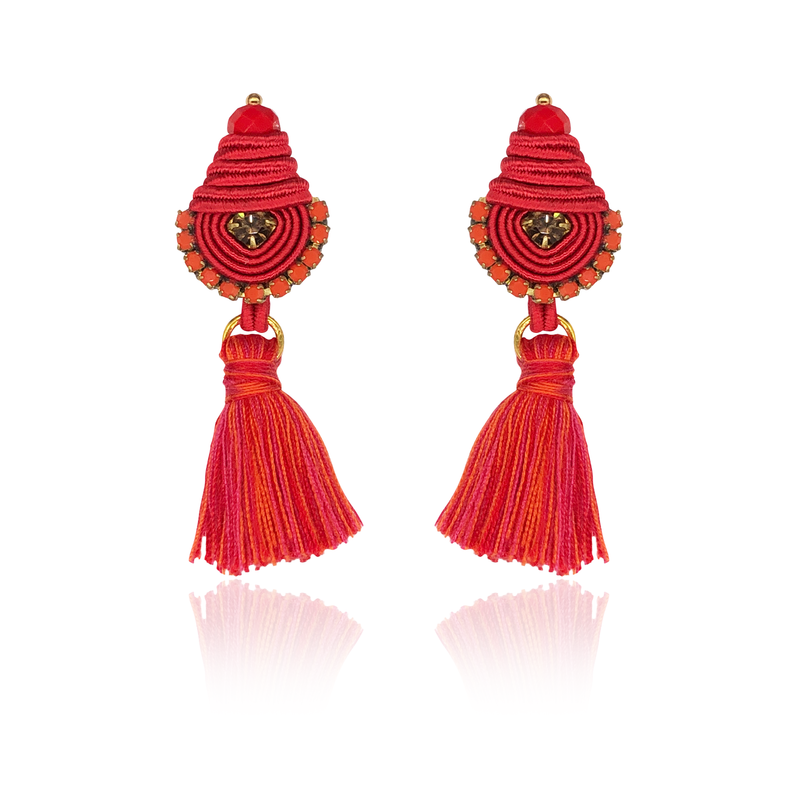 Red Mini Borla Earrings