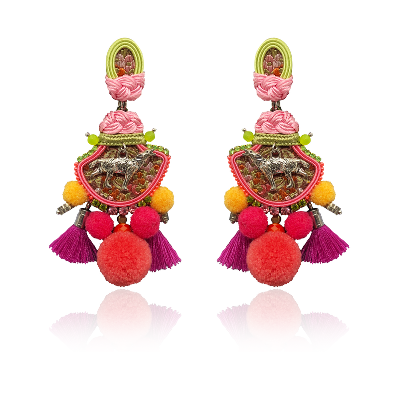 """Strawberry Singing Wolf"" One & Only Earrings"