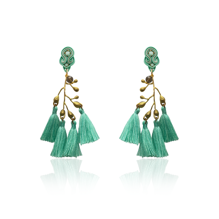 Gold Branch and Green Tussel Earrings