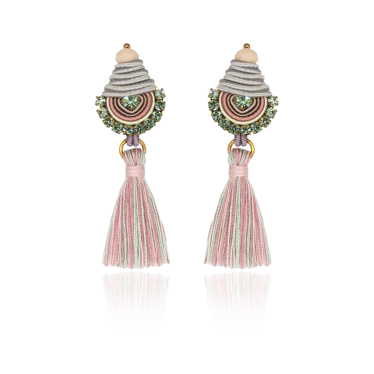 Light Green and Pink Mini Borla Earrings