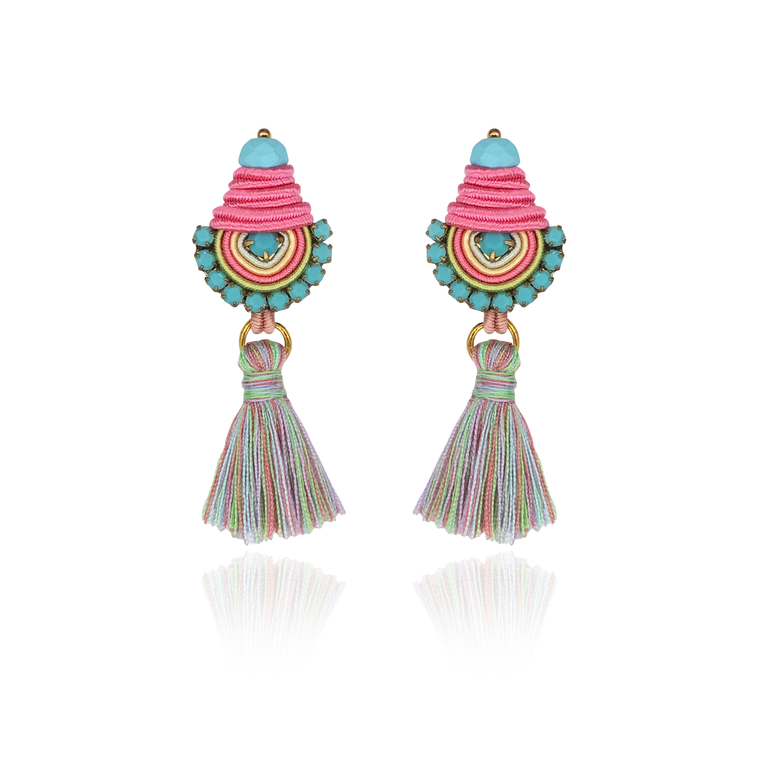 Mint & Pink Mini Borla Earrings