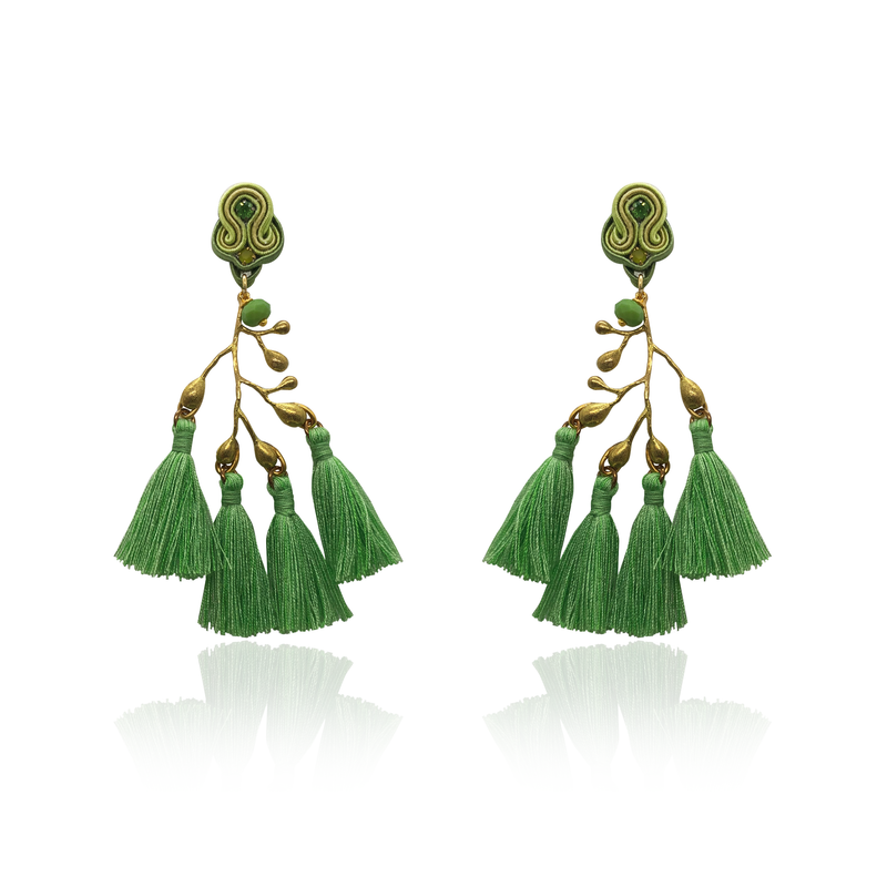 Gold Branch and Apple green Tussel Earrings
