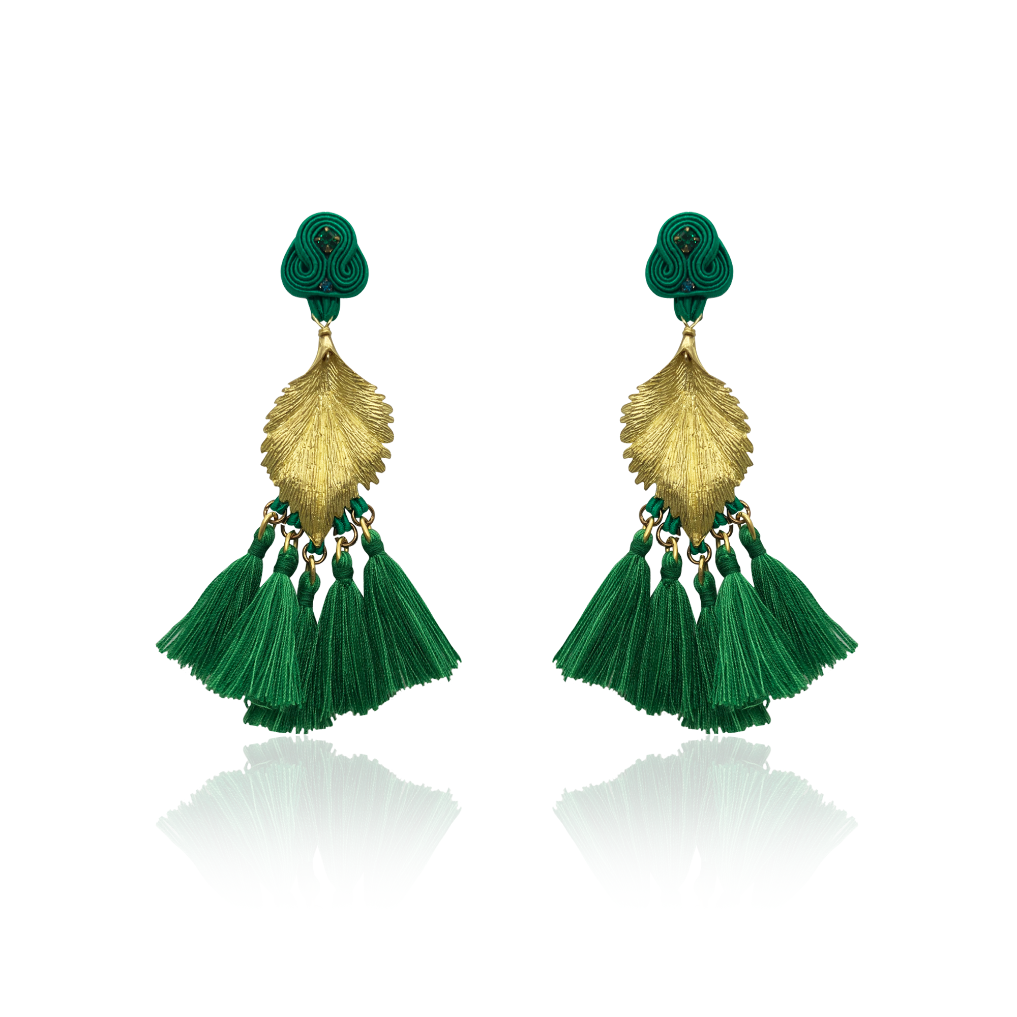 Gold Leaf and Green Tussel Earrings