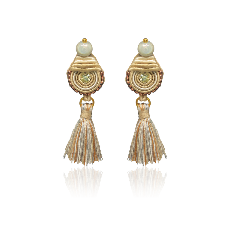 Beige and Pearl Mini Borla Earrings