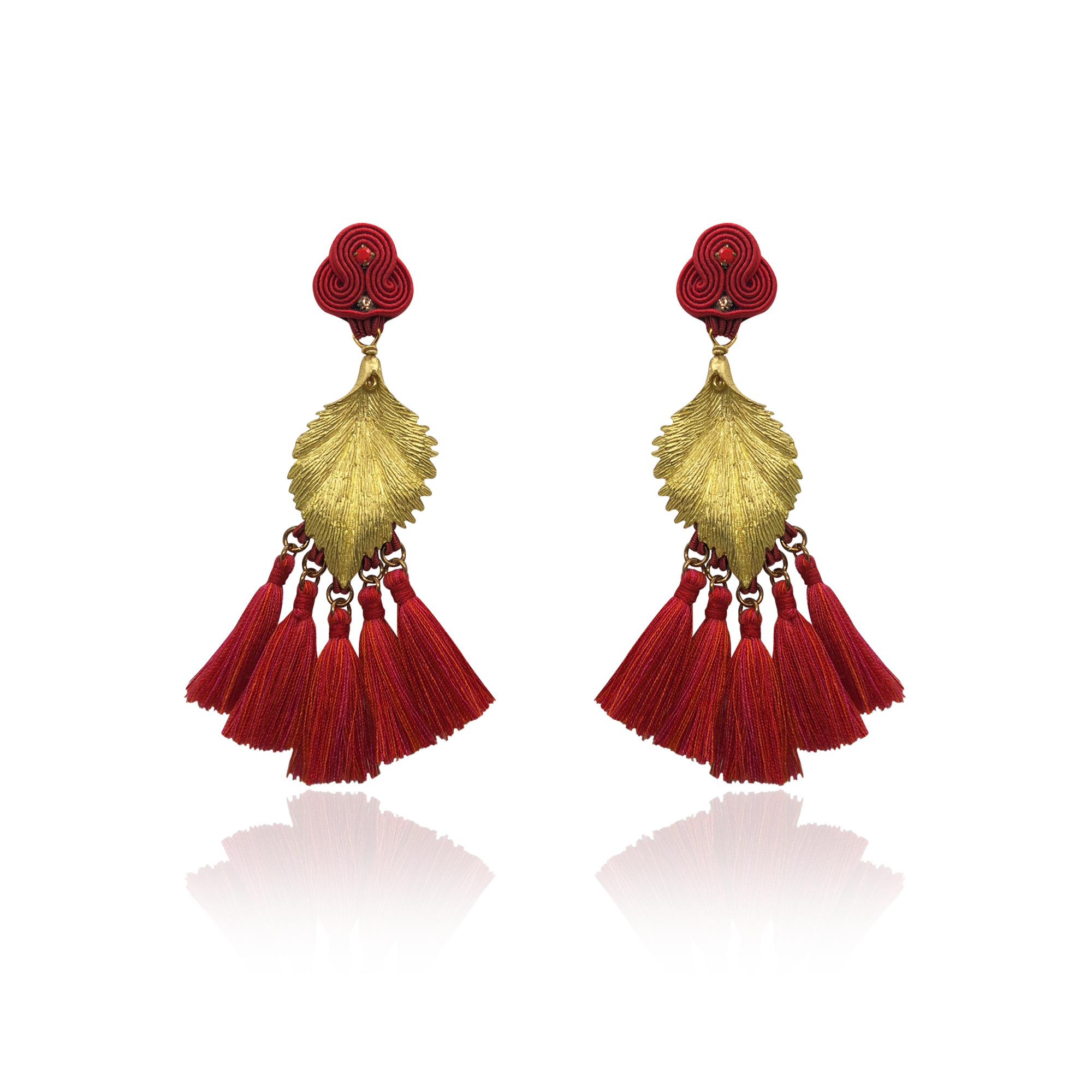Gold Leaf and Red Tussel Earrings
