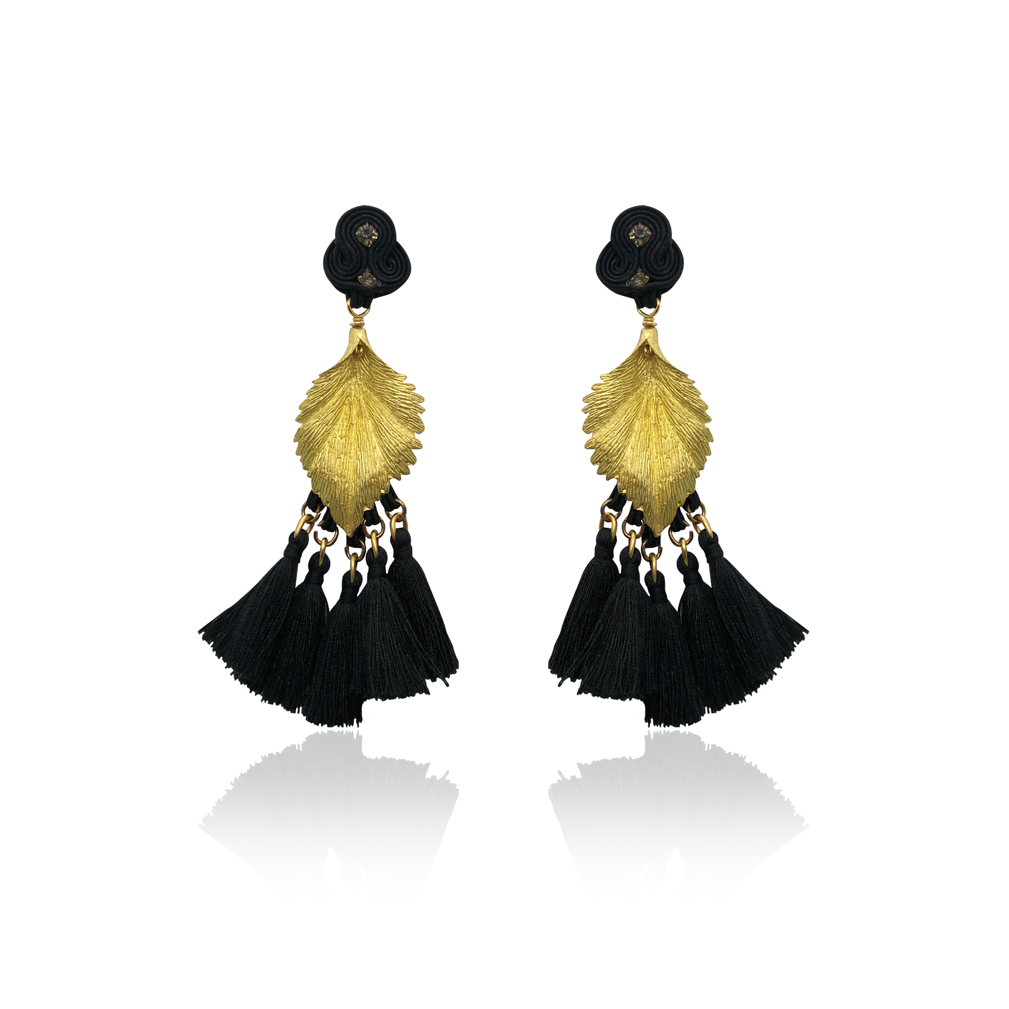 Gold Leaf and Black Tussel Earrings