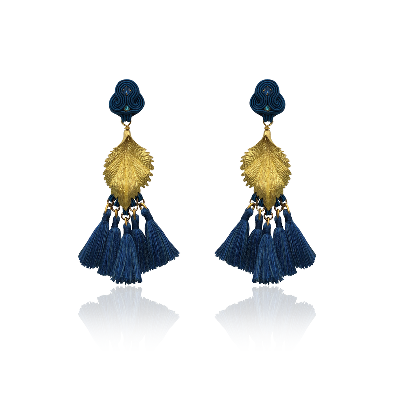 Gold Leaf and Dark Blue Tussel Earrings