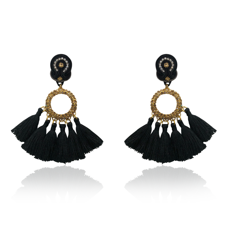 Crystal gold cricle and black tussel Earrings