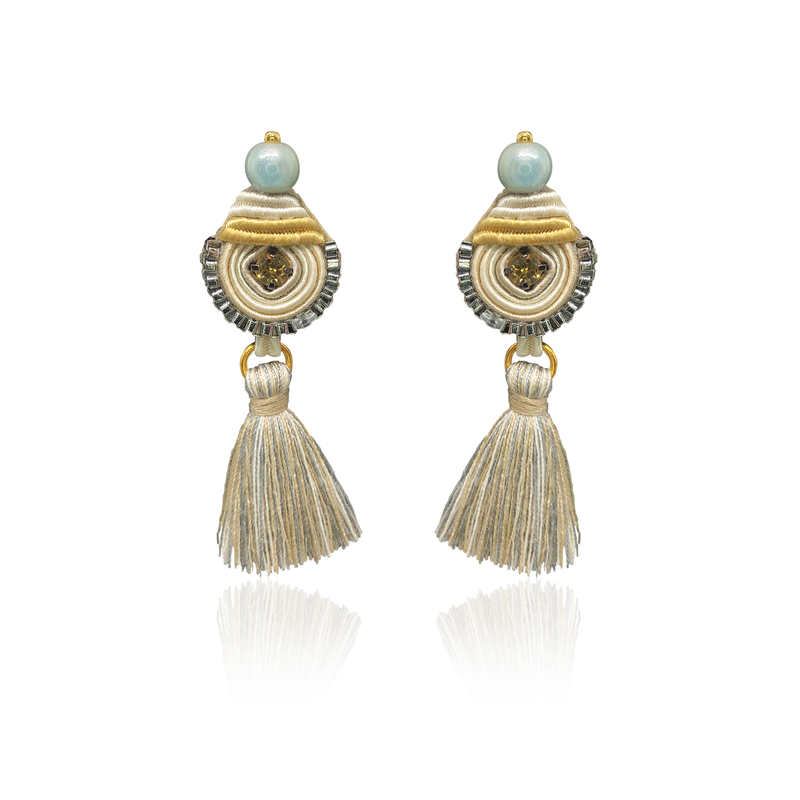 White and Beige Mini Borla Earrings