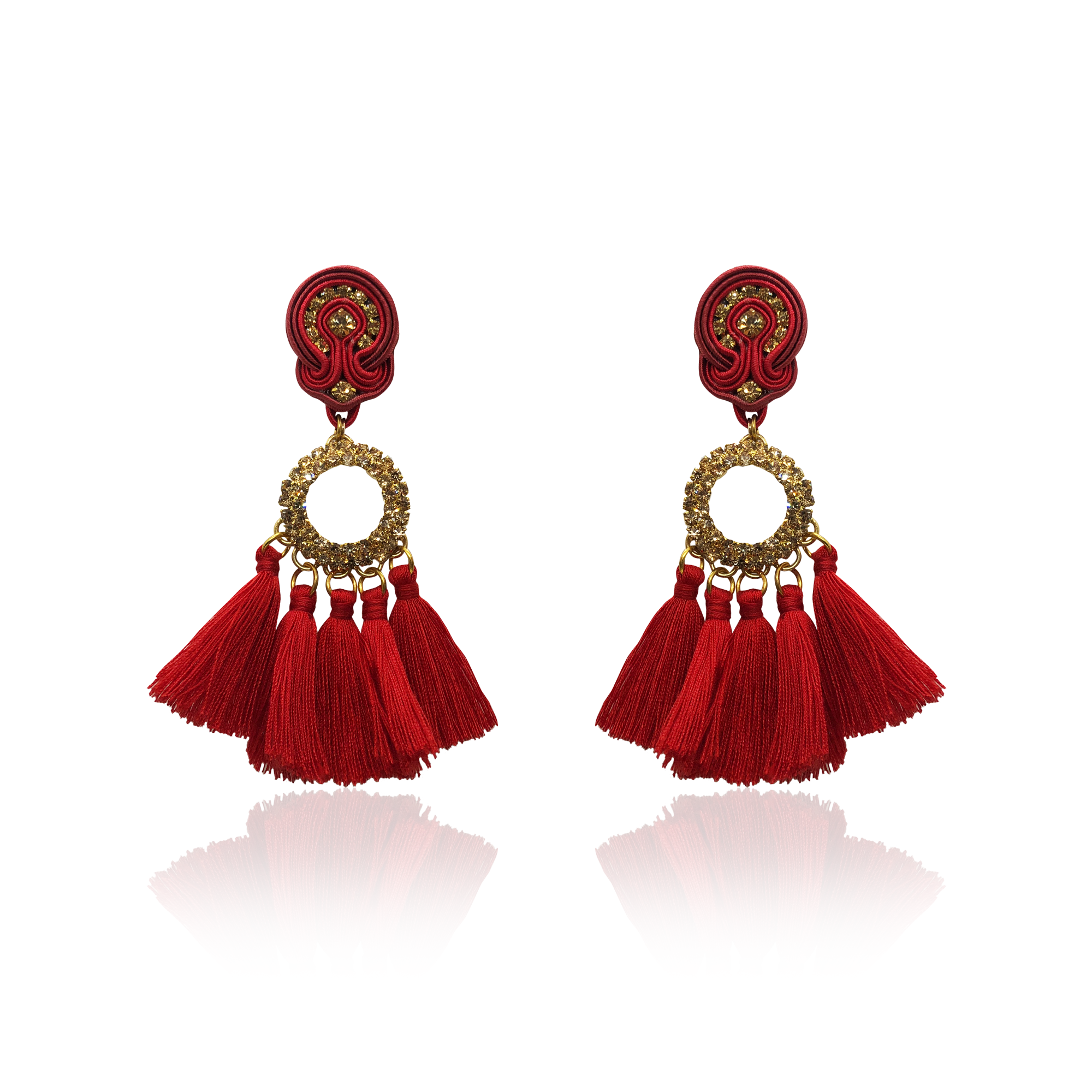 Crystal gold circle and red tussel Earrings