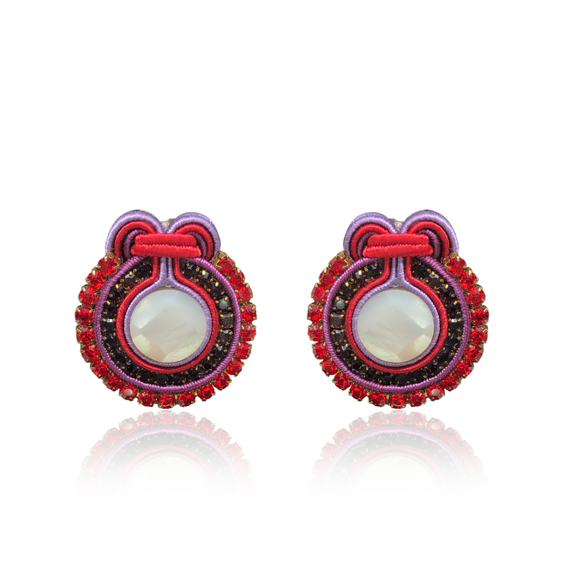 Francesca Purple and Red Earrings